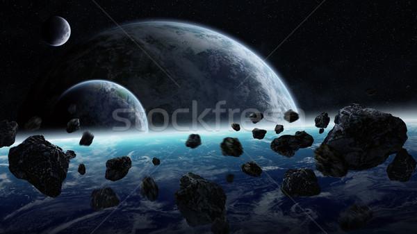 Météorite planètes espace vue monde lumière Photo stock © sdecoret