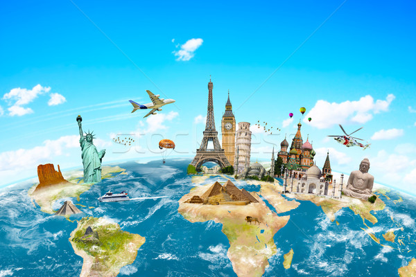 Famous monuments of the world surrounding planet Earth Stock photo © sdecoret