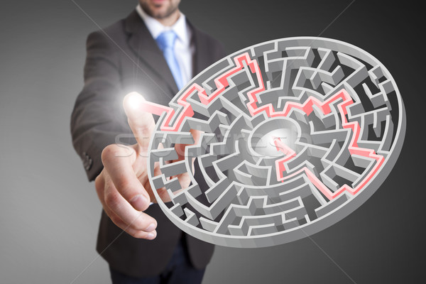 Empresário solução tocante digital interface dedos Foto stock © sdecoret