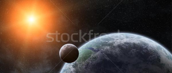 Zonsopgang aarde ruimte zonsondergang zee Stockfoto © sdecoret
