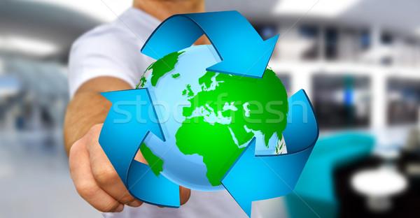 Empresario reciclaje icono planeta tierra mano Foto stock © sdecoret