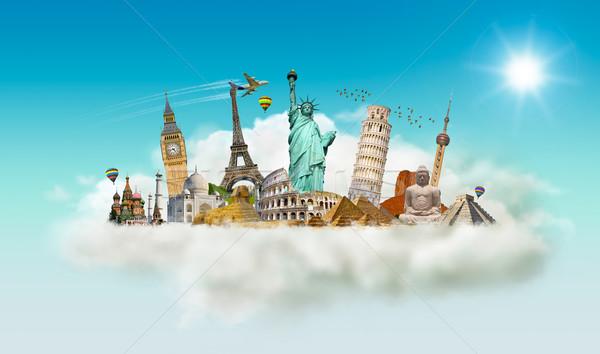 ünlü anıtlar dünya bulut birlikte yaz Stok fotoğraf © sdecoret