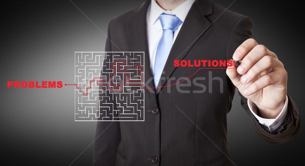 Empresário labirinto desenho digital tela negócio Foto stock © sdecoret