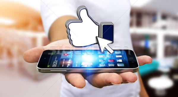 Empresario moderna red social teléfono móvil mano hombre Foto stock © sdecoret