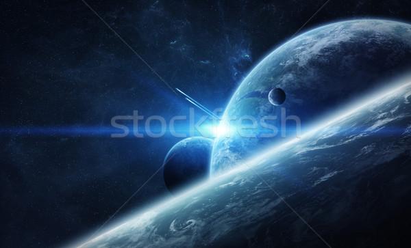 Nascer do sol planeta terra espaço ver pôr do sol mar Foto stock © sdecoret