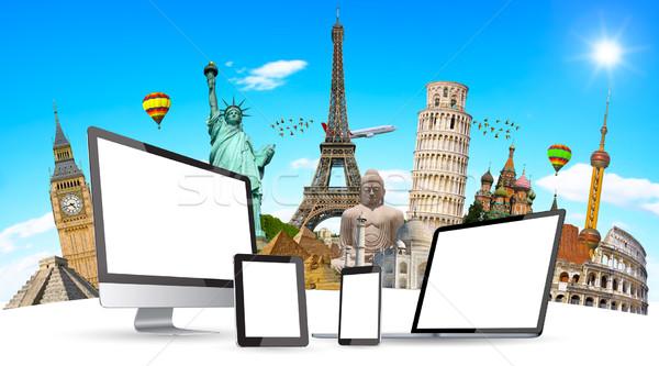 Famoso monumentos mundo tecnología junto Foto stock © sdecoret
