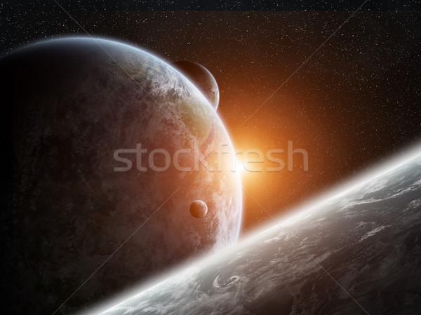 Napfelkelte Föld űr kilátás nap naplemente Stock fotó © sdecoret
