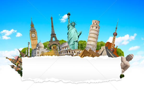 Famous monuments of the world with blank torn paper Stock photo © sdecoret