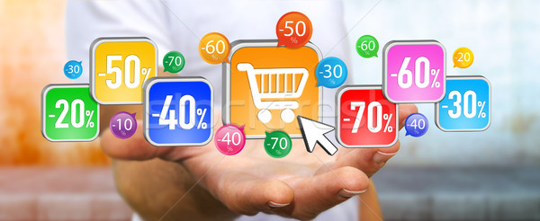 Young man shopping during sales period Stock photo © sdecoret