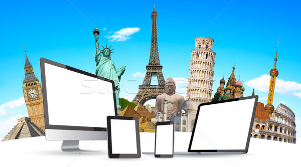 Famous monuments of the world and tech devices Stock photo © sdecoret