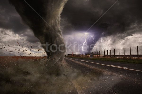 Large Tornado disaster on a road Stock photo © sdecoret