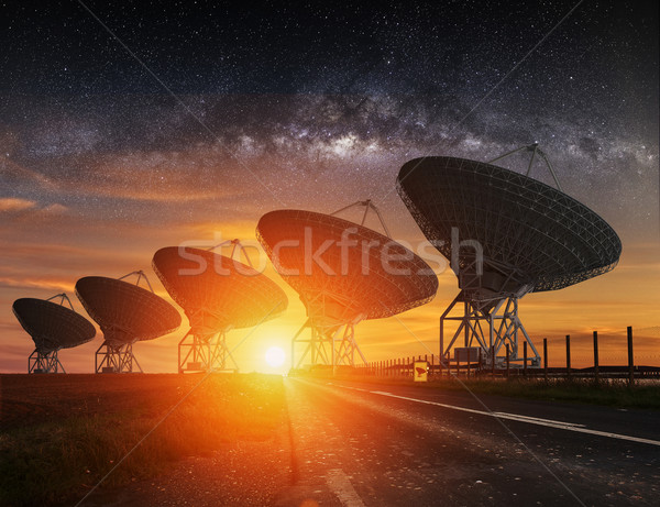 Radio Telescope view at night Stock photo © sdecoret