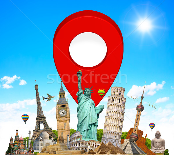 Stock photo: Monuments of the world with pin marker icon