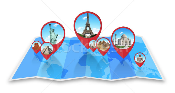 Stock photo: Monuments of the world on a map