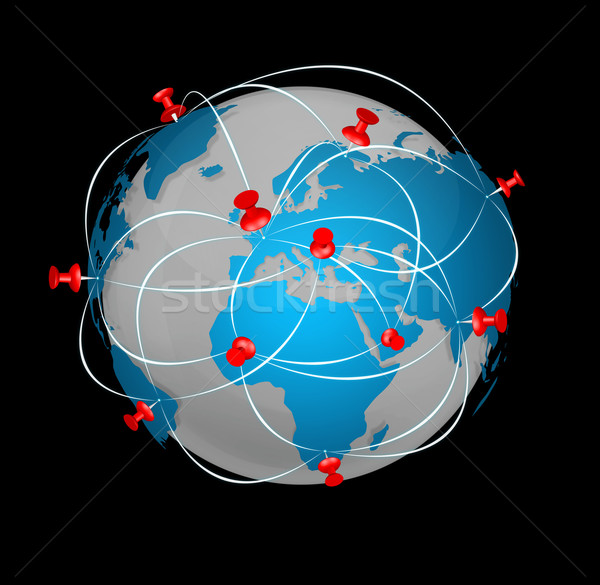 Stock photo: Pin map icon on a blue world map