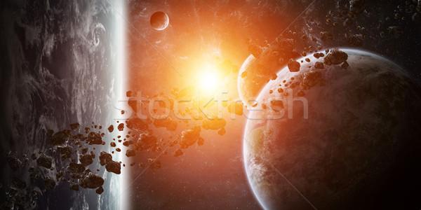 Napfelkelte csoport bolygók űr kilátás távoli Stock fotó © sdecoret