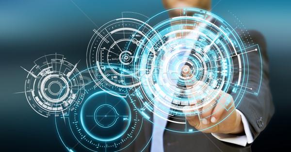 Işadamı teknoloji arayüz parmaklar iş bilgisayar Stok fotoğraf © sdecoret