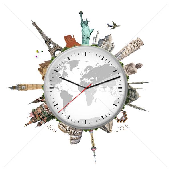 Ilustração relógio famoso monumentos mundo globo Foto stock © sdecoret