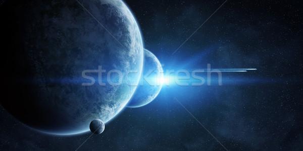 Zonsopgang planeten ruimte zonsondergang zee Stockfoto © sdecoret