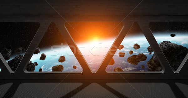 Stock photo: View of planet Earth from inside a space station