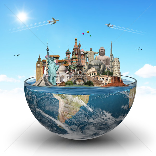Műemlékek világ üveg víz illusztráció híres Stock fotó © sdecoret