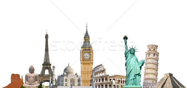 ünlü anıtlar dünya birlikte beyaz toprak Stok fotoğraf © sdecoret