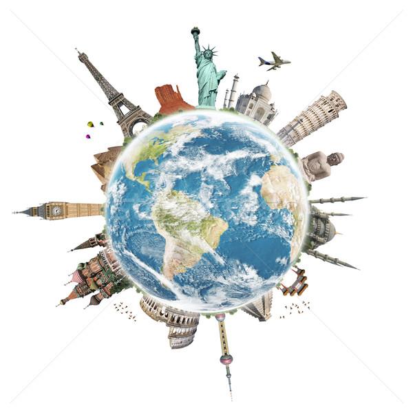 Seyahat dünya ünlü anıtlar tatil harita Stok fotoğraf © sdecoret