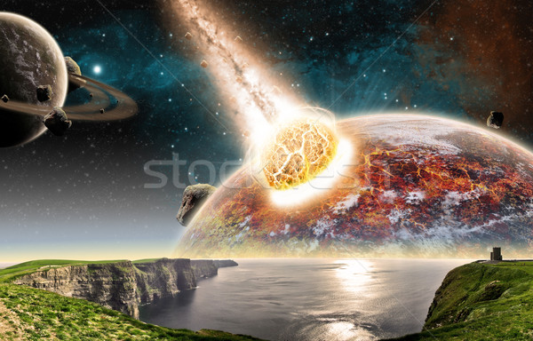 Meteorito planeta espaço ver céu globo Foto stock © sdecoret