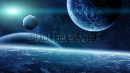 Nascer do sol planetas espaço ver sol pôr do sol Foto stock © sdecoret