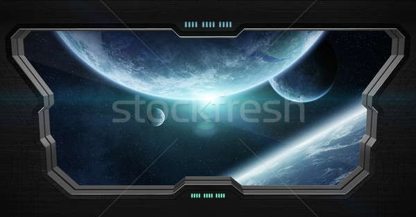 View of outer space from inside a space station Stock photo © sdecoret