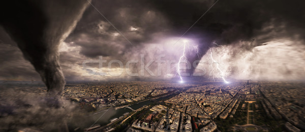 Large Tornado disaster on a city Stock photo © sdecoret