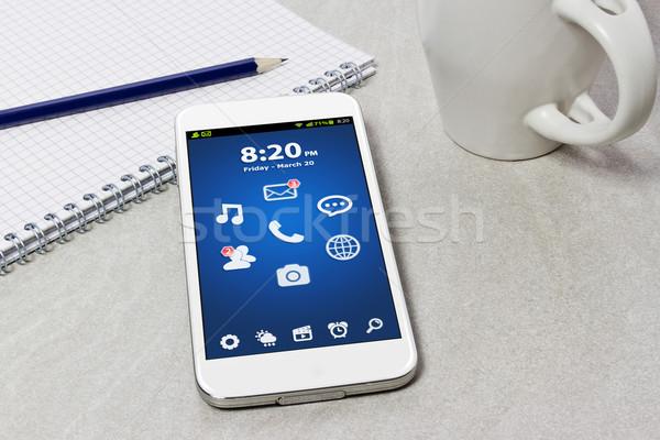 Arbeitsplatz Handy Tabelle Telefon Technologie Stock foto © sdecoret