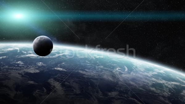Sunrise pianeta terra spazio view sole tramonto Foto d'archivio © sdecoret