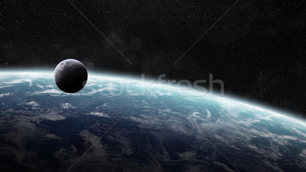 Gündoğumu dünya gezegeni uzay görmek gün batımı deniz Stok fotoğraf © sdecoret
