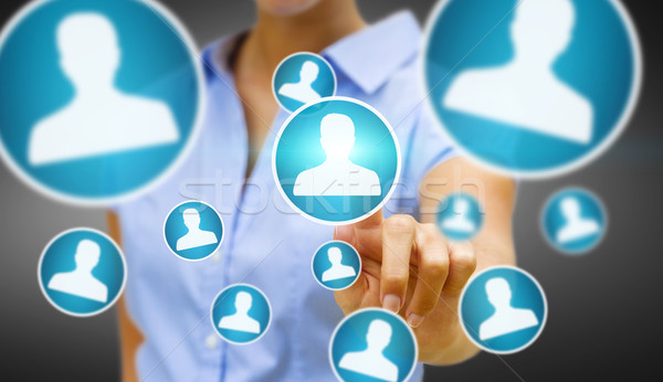 Businesswoman using modern social network  Stock photo © sdecoret