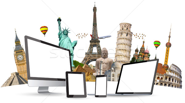 Famous monuments of the world and tech devices on white backgrou Stock photo © sdecoret