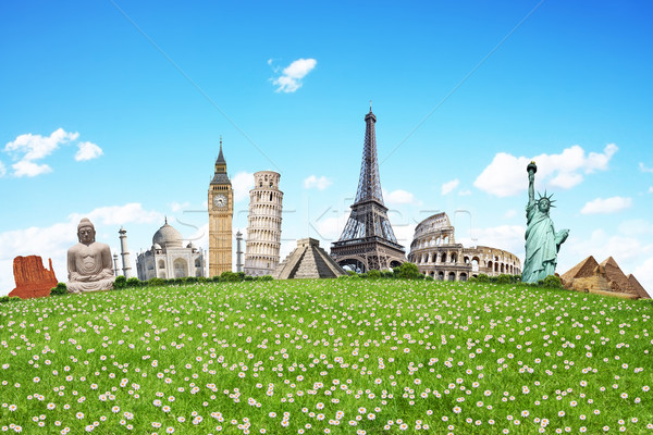 Illustration célèbre herbe verte monuments monde terre Photo stock © sdecoret