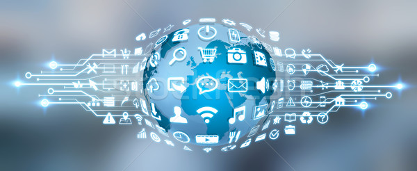 Digital world with web icons Stock photo © sdecoret