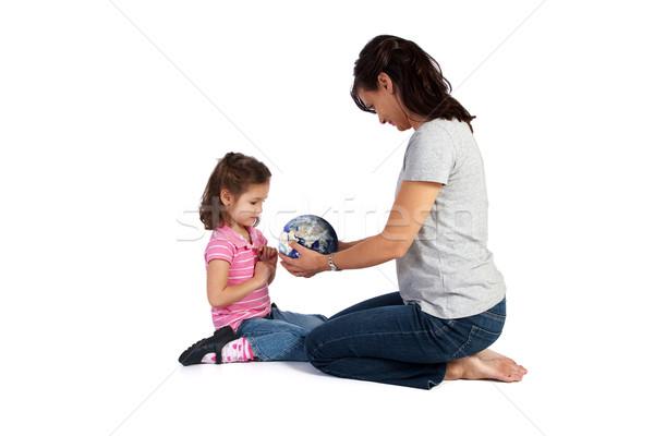 Dziewczyna nauki świat córka nauczyciel odizolowany Zdjęcia stock © sdenness