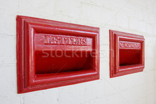 Red letterbox old style Stock photo © sdenness