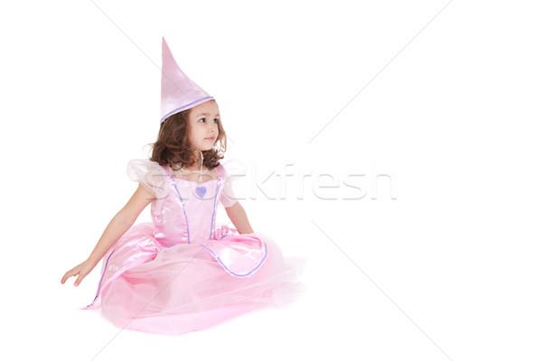 Fée princesse jeune fille séance isolé blanche Photo stock © sdenness