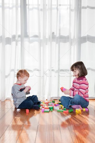 Gry dla dzieci bloków dwa okno dzieci Zdjęcia stock © sdenness