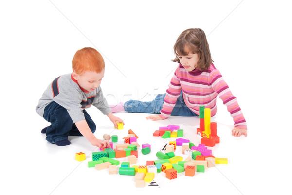 Gry dla dzieci bloków dwa kolorowy odizolowany biały Zdjęcia stock © sdenness
