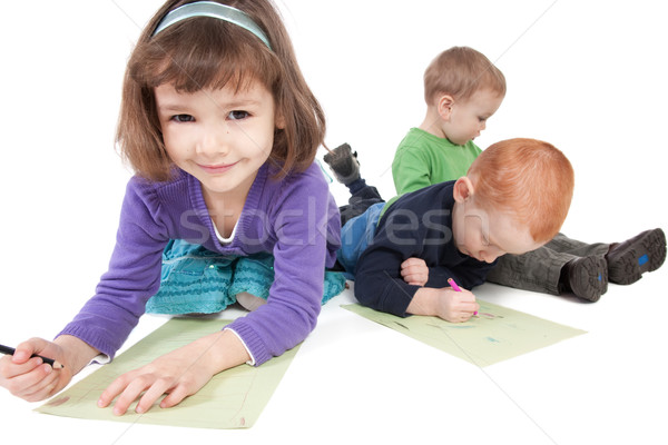 Happy kids drawing Stock photo © sdenness