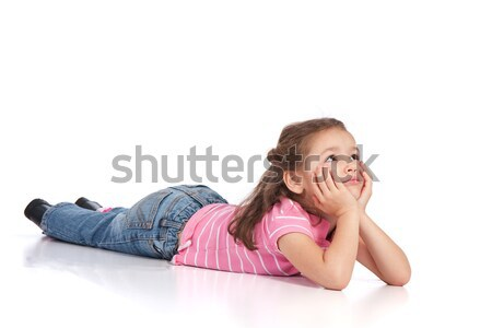 Preschool girl lying on floor Stock photo © sdenness