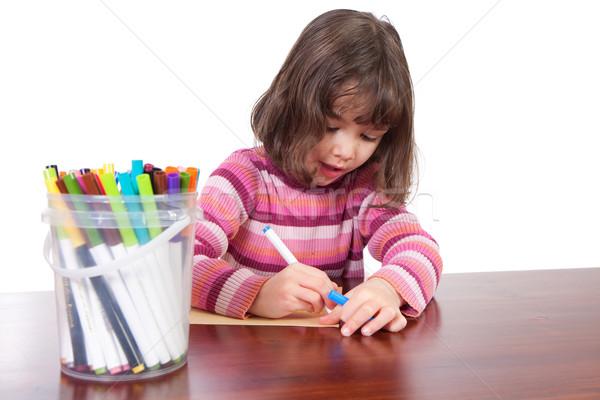 Lány rajz színes fiatal lány asztal izolált Stock fotó © sdenness