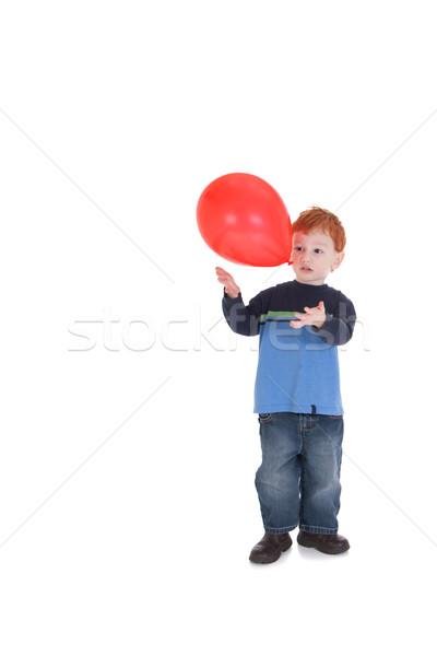 Fiú játszik léggömb fiatal srác dob izolált Stock fotó © sdenness
