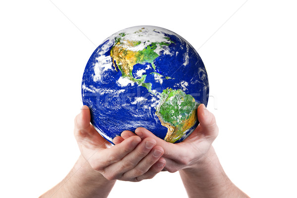 Hands holding world environment Stock photo © sdenness