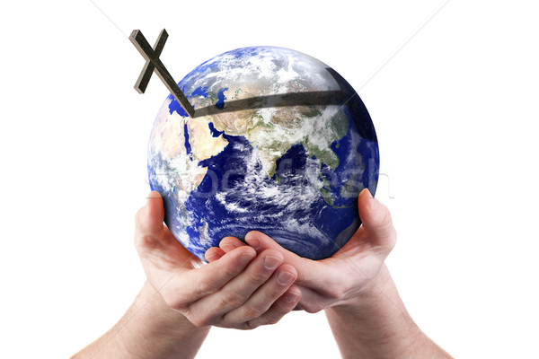 For God so loved the world - holding world in his hands Stock photo © sdenness