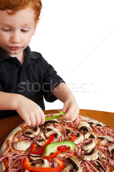 Chłopca pizza młody chłopak domowej roboty Zdjęcia stock © sdenness